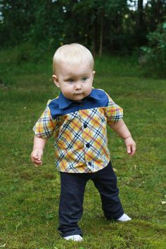 12M Boys Button Down Shirt  Plaid with Contrasting by wovenshop, $30.00