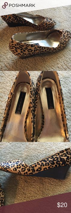 Pony hair Animal print wedges 10M Steven by Steve Madden pony hair animal print wedges. Never worn. Only walked in store.  Impulse buy. Steven by Steve Madden Shoes Wedges