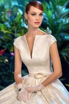 Graceful Lace V-neck Neckline Natural Waistline A-line Wedding Dress Neckline, V Neck, Lace, Wedding Dresses, Fashion, Bride Dresses, Moda, Plunging Neckline, Wedding Gowns