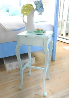 SOLD  shabby chic furniture table  aqua beach by backporchco on Etsy, $84.00