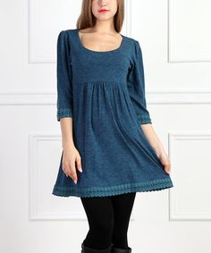 Loving this Teal Crochet Empire-Waist Dress on #zulily! #zulilyfinds