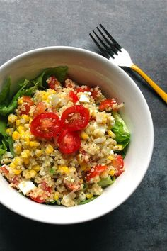 Summer Corn & Quinoa Salad  2 ears corn - roasted, 1 1/2 cups grape tomatoes - chopped, 1/2 jalapeño finely chopped, 1/2 cup onion, 1/3 cup quinoa, 3 tablespoons cider vinegar, 1 tablespoon olive oil, 1 tablespoon water, 1/4 teaspoon salt, 1/2 teaspoon basil - chopped, 1/2 avocado - chopped.
