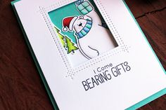 Hello everyone, I'm back with Day 11 of the Christmas Card Series of 2016 today and I'm going to be creating a window card, with a small sc. Christmas Card Crafts, Christmas Themes, Holiday Cards, Christmas Cards, Tedy Bear, Mama Elephant Cards, Dec 2016, Winter Birthday, Window Cards