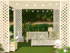 Waters Sun Room Set. 8 Contemporary Wood Garden Seats and Tables that includes fabric covers Plus 2 Lamps made of wood and fabric by DOT of The Sims Resource.  Found in TSR Category 'Sims 4 Garden...