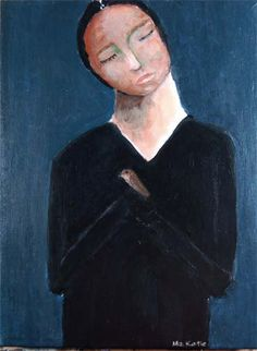 Humbled - acrylic portrait painting girl with bird