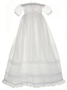 NEW Hearts Delight Victorian Style Christening Gown with Pintucks and Lace Insertion $225.00