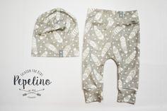 Hosen - Pepelino Set Leggings Beanie Feathers Grey - ein Designerstück von pepelino-kids bei DaWanda
