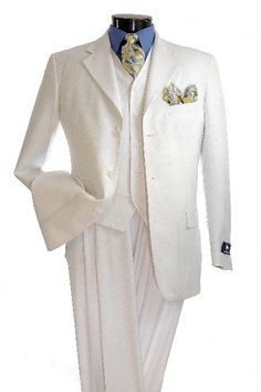 1920s style Mens Elegant White pinstripe 3 Button Zoot Suit $139.00 AT vintagedancer.com