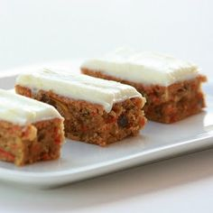 carrot and zucchini bars - 2 1/2 cups of veggies. yum. Use whole wheat flour and replace oil with applesauce