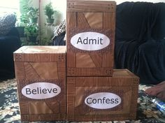 My jungle crates. The kids will be learning the ABCs if salvation. So used those as points on the boxes. Covered boxes with brown paper then enhanced with contact paper (wood grain looking one) and sharpie marker. Printed words on computer.