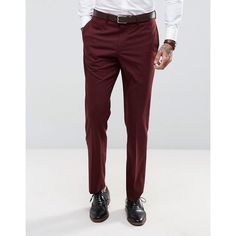 ASOS Slim Suit Trousers In Burgundy (2.360 RUB) ❤ liked on Polyvore featuring men's fashion, men's clothing, men's pants, men's casual pants, red, mens slim fit dress pants, mens burgundy pants, mens skinny dress pants, mens skinny pants and mens zipper pants