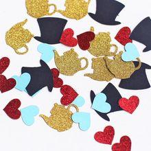 100pcs Alice in Wonderland confetti, tea party confetti, birthday party decoration,Mad Hatters Tea Party Glitter Confetti,(China (Mainland))