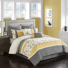 The Argument About Soothing Bedroom Color Schemes Since the bedroom is the area at which you will be frequently taking a look at the ceiling, you could as well make it appear interesting. In reality, . Yellow Gray Bedroom, Grey Bedroom With Pop Of Color, Grey Room, Yellow Comforter, Full Comforter Sets, Bedding Sets, Bedroom Comforters, Bedroom Color Schemes, Bedroom Colors