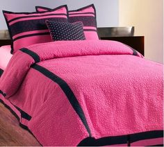 Hallmart Collectibles Embroidered Circles Comforter Set - 4804 - All Bedding Sets - Bedding Sets - Bed & Bath Pink And Black Bedding, Black Comforter, Pink Bedding, Bedding Sets, Black Bedroom Decor, Pink Home Decor, Bedroom Ideas, Full Size Comforter Sets, Bed Sets