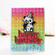 STAMPtember Blog Party! | The Things I Do With Paper Card Kit, I Card, Alcohol Markers, Glitter Cards, Simon Says, Happy Birthday Cards, My Stamp, Background Patterns, Card Stock