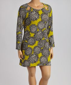 Look what I found on #zulily! Black & Moss Floral Cutout Sweater Dress - Plus by Aryeh #zulilyfinds