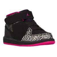 Jordan 1 Flight 3 - Girls' Toddler - Black / Pink