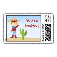 Cowboy Birthday Postage Stamp