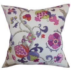 Vibrant floral pattern on a white background, makes this throw pillow a perfect indoor decor piece. This accent pillow provides a polished and chic look to your interiors. With shades of purple, lilac, pink and gray, this square pillow will instantly liven up your living room, bedroom, lounge area. Pair this decor pillow with other floral patterns for a garden-inspired theme. Made from 100% high-quality cotton material. $55.00  #floralprint  #florals  #tosspillow #accentpillow