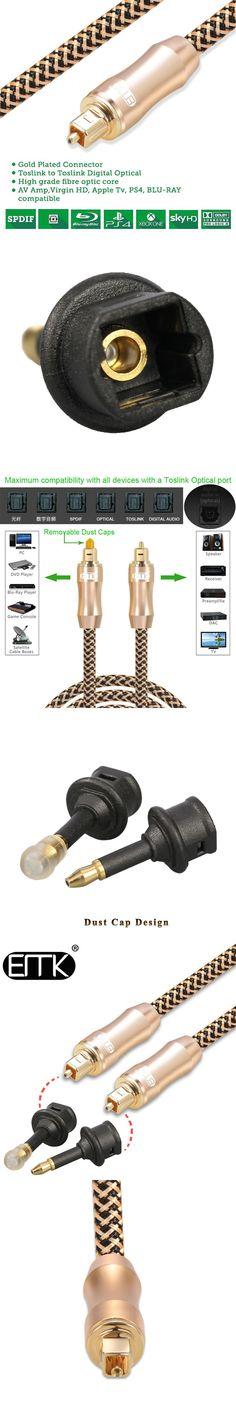 EMK Premium 2m Digital SPDIF Optical Audio Cable with 3.5 mm mini toslink adapter for Macbook,Soundbar,TV box