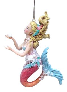 Pretty Blonde Mermaid with Blue Tail Christmas Holiday Ornament #DecemberDiamonds