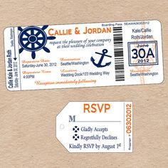Nautical Boarding Pass Invitation & matching by DecorableDesigns, $25.00
