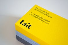 TaitIn we created a new identity for our studio that confidently reflects our vision and aspirations for Tait. The new identity comprises a logo, house typeface, stationery suite and website.Our stationery is as bright and fresh as we feel about… Letterpress Business Cards, Business Card Design Inspiration, Elegant Business Cards, Identity Design, Brand Identity, Visual Identity, Design Graphique, Book Design, Design Ideas