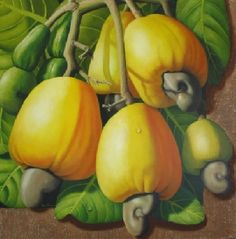 Rose Fernandes - Artista Plástica | Galeria de Obras Fruit Painting, Fabric Painting, Watercolor Paintings, Fruits Drawing, Value In Art, Beautiful Fruits, Country Paintings, Tropical Art, Fruit Art