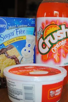 Orange Sherbet Cake {Three ingredients} ~ yellow cake mix, Crush, and whipped topping