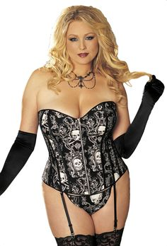2fa37026a8c Plus Size Skull Print Corset with slimming boning