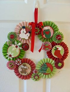 Rosette Christmas Wreath by Risa - Cards and Paper Crafts at Splitcoaststampers