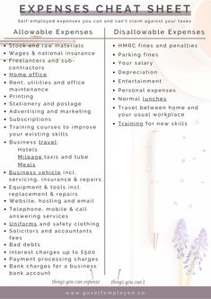 A list of self-employed allowable expenses and free checklist so you can make sure you're claiming everything you can so you pay less tax Small Business Bookkeeping, Bookkeeping And Accounting, Small Business Accounting, Business Advice, Business Education, Business Money, Business Entrepreneur, Business Marketing, Business Management