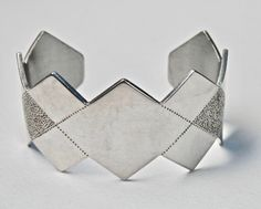 Modernist Cuff Bracelet Cut Steel SilverTone Geometric Zig Zag Edge Diamond Harlequin Pattern Abstract Vintage Jewelry Frosty Brushed Silver by TheJewelryChain on Etsy