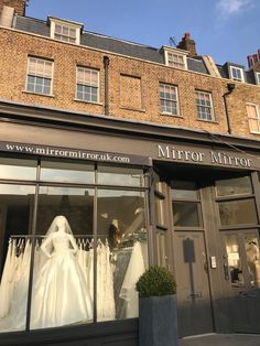 Mirror Mirror Bridal shop - Brides best friend for wedding dresses. Searching for your dream wedding dress? Visit our London boutique to see our extensive designer collection including our own Mirror Mirror couture gowns. Elegant Wedding Dress, Dream Wedding Dresses, Mirror Mirror Bridal, Bridal Boutique, Designer Collection, Window, Display, Mansions, House Styles