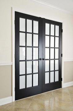 painted black interior french doors with privacy film Home Decor Black French Doors, Interior Sliding French Doors, Internal French Doors, Black Interior Doors, Double Doors, Sliding Doors, Solid Doors, French Interior, Glass Panel Door