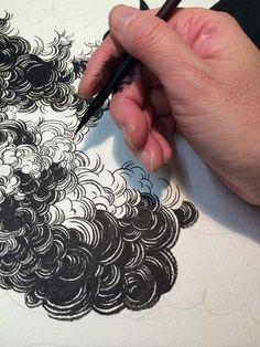 Cloud Illustration, Tattoo Illustration, Ink Illustrations, Drawing Cartoon Faces, Cloud Tattoo, Comic Tattoo, Graphic Novel Art, School Of Visual Arts, Batman Detective