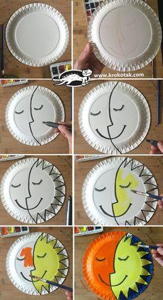Sun and Moon plate craft Paper Plate Art, Paper Plate Crafts, Paper Craft, Moon Crafts, Diy Y Manualidades, Art N Craft, Space Crafts, Preschool Activities, Children Activities