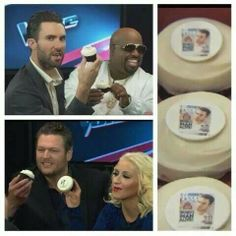 Adam Levine chewing on his face and Blake Shelton licking it....well the cupcake version LOL