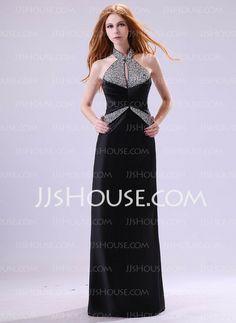 Evening Dresses - $143.99 - Sheath Halter Floor-Length Satin Evening Dress With Ruffle Beading (017014382) http://jjshouse.com/Sheath-Halter-Floor-Length-Satin-Evening-Dress-With-Ruffle-Beading-017014382-g14382
