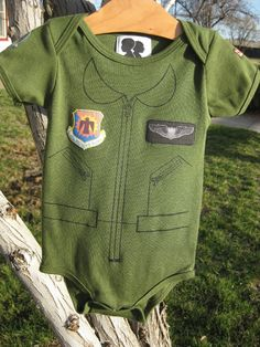 """""""Baby Boys Custom Fighter Pilot Flight Suit Onesie, 6mo-24mo. $40.00, via Etsy."""" - I have to admit $40 seems like a lot for a onesie ... but HOW CUTE is this?! - MilitaryAvenue.com"""
