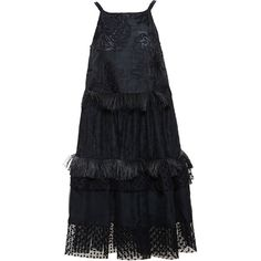ROCHAS Fringe and Ruffle Dress ($3,105) ❤ liked on Polyvore featuring dresses, black flared skirt, black ruched dress, black polka dot dress, black skater skirt and little black dress