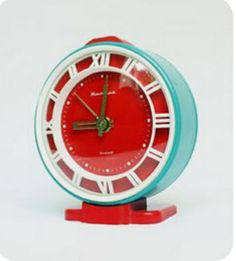 Red And Teal, Red Turquoise, Vintage Turquoise, Aqua Blue, Coral, Pink, Vintage Alarm Clocks, Retro Clock, Clock Art