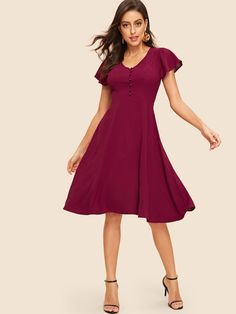 e7e3a29ad79ee Button Front Solid Dress | New In Dresses | Button front dress ...