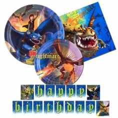 How to Train Your Dragon Party supplies - 4 items party pack- plates, napkins, banner by Hallmark. $21.95. 1 - How to Train Your Dragon birthday banner - 8ft long. 8 - How to Train Your Dragon Dessert Plates. 8 - How to Train Your Dragon Dinner plates. 16 - How to Train Your Dragon Lunch Napkins. 4 Item Bundle. All young Vikings need to learn to slay dragons when they reach a certain age... but why slay them when you can train them instead? Bring the dragons home to your p...