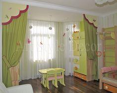 Декоративное оформление окна и проема в детской комнате #curtains