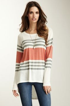 Middle Coral Hi-Lo Summer Sweater by Go Couture on @HauteLook