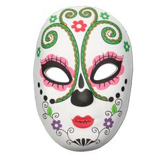 This Day of the Dead masquerade mask with a a green antler design on the forehead is the perfect item to complete your festival outfit. Day Of The Dead Mask, Half Mask, Antlers, Masquerade, Pray, Spiritual, Shell, Mexico, Journey