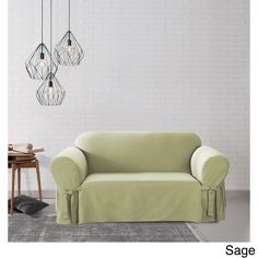 Sure Fit Cotton Duck Washable Loveseat Slipcover (Sage / Loveseat), Green