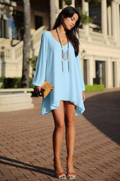 Light Blue V Neck Chiffon Shift Dress