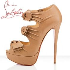 Christian Louboutin 'Madame Butterfly' Platform Shoes Apricot @}-,-;--